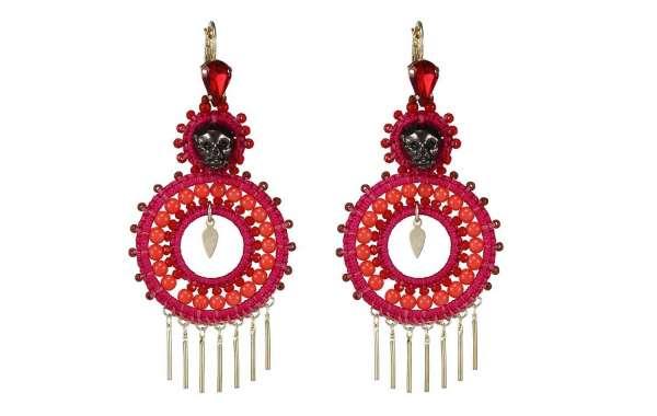 Woven Flamingo Earrings