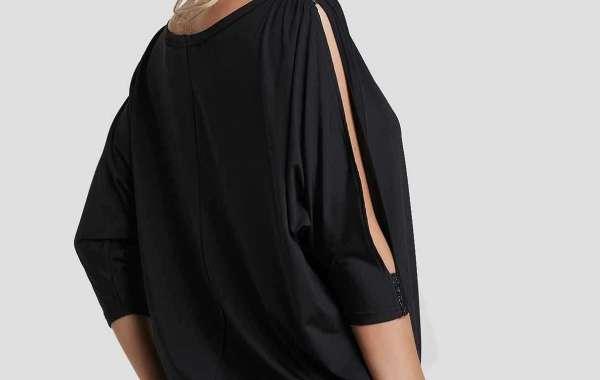 V-Neck Plain Wrap 3/4 Sleeve Black Plus Size Dress
